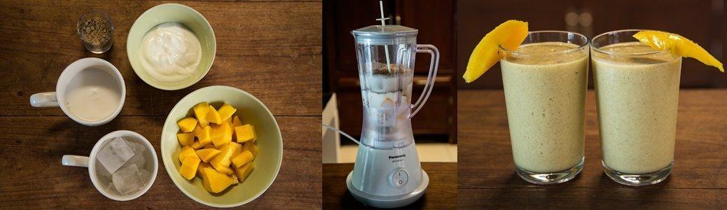 mango smoothie with cricket flour