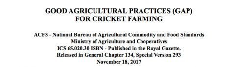 Good Agricultural Practices (GAP) for cricket farming released for the first time!
